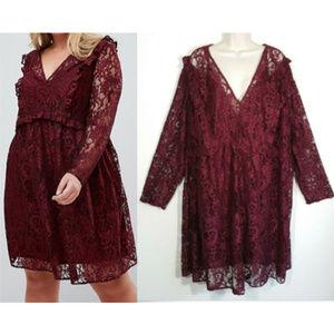 ASOS Curve Lace Smock Mini Dress Burgundy 2555E1